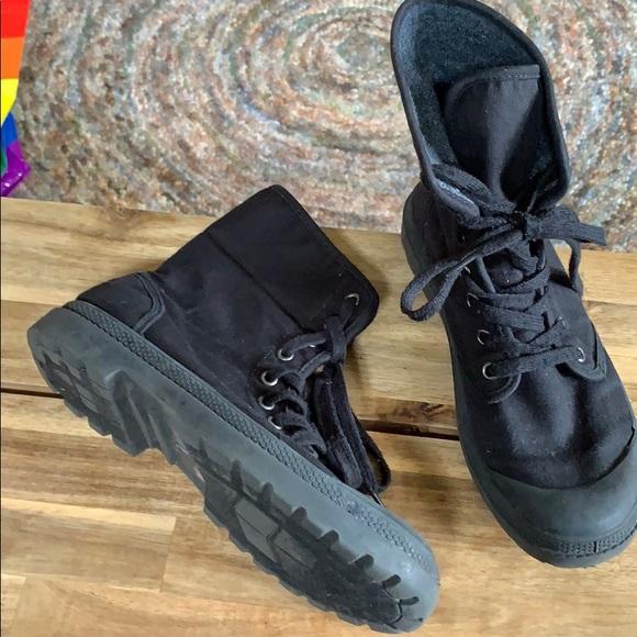 Black Canvas Combat Boots | Poshmark